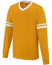 Augusta 373 Boys Long Sleeve Stripe V-Neck Soccer Jersey at GotApparel