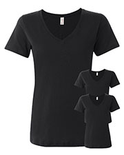 Anvil 392A Women Ringspun Featherweight V-Neck T-Shirt 3-Pack at GotApparel