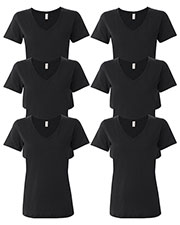 Anvil 392A Women Ringspun Featherweight V-Neck T-Shirt 6-Pack at GotApparel