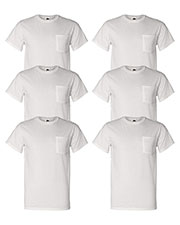 Fruit Of The Loom 3931P Men 5 Oz. 100% Heavy Cotton Hd Pocket T-Shirt 6-Pack at GotApparel