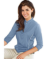 TRI-MOUNTAIN GOLD 403 Women Glendora Ultracool Jaquard Knit 3/4 Sleeve Pullover Shirt at GotApparel