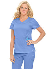 Landau 4066 Women Smart Stretch Rounded V-Neck Top at GotApparel