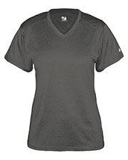 Badger 4362  Ladies Pro Heather Short Sleeve V-Neck Performance Tee at GotApparel