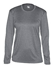 Badger 4364 Women Pro Heather Long-Sleeve Crew Neck Performance Tee at GotApparel