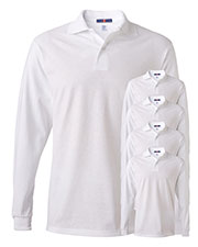 Jerzees 437ML Men 5.6 Oz. 50/50 Long-Sleeve Jersey Polo With Spotshield 5-Pack at GotApparel