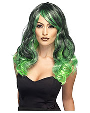 Smiffys 44257 Women Ombre Wig, Bewitching, Green & Black at GotApparel
