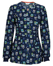 Code Happy 46302CA Women's Snap Front Print Warm Up Scrub Jacket at GotApparel