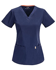 Code Happy 46607A Women Princess Seam V-Neck Scrub Top at GotApparel