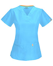 Code Happy 46607A Women's Princess Seam V-Neck Scrub Top at GotApparel