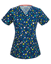 Code Happy 46613A Women's V-Neck Print Scrub Top at GotApparel