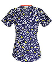 Code Happy 46616CA Women's Mock Wrap Print Scrub Top at GotApparel