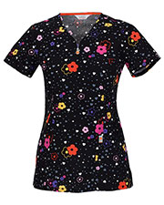 Code Happy 46617A Women's V-Neck Floral Print Scrub Top at GotApparel
