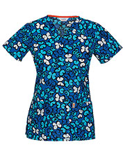 Code Happy 46618A Women's V-Neck Butterfly Print Scrub Top at GotApparel