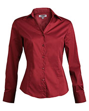 Edwards 5034 Women's V-Neck Soft Collar Tailored Long-Sleeve Blouse at GotApparel