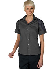 Edwards 5245 Women Matching Buttons Poplin Short Sleeve Shirt at GotApparel