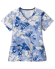 White Swan Brands 5331  Bio Prints   Contrast Trimmed V-Neck Top.  26.5 Length.  Shaped  With   Edge.  Two   Pockets.  Side Vents. at GotApparel