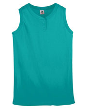 Augusta 551 Girl's Sleeveless Two-Button Softball Jersey at GotApparel
