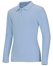 Classroom Uniforms 58542 Girls Long Sleeve Fitted Interlock Polo at GotApparel