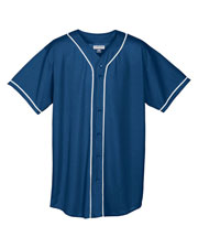 Augusta 593 Men Wicking Mesh Button Front Baseball Jersey With Braid at GotApparel