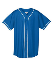 Augusta 594 Boys Wicking Mesh Button Front Baseball Jersey With Braid at GotApparel