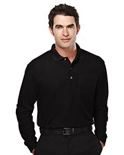 Tri-Mountain 609 Men Spartan Pique Long Sleeve Pocketed Golf Shirt at GotApparel
