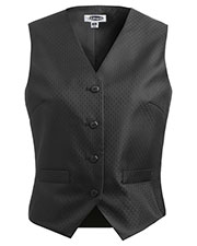 Edwards 7390 Women V-Neck Welt Pockets Brocade Vest at GotApparel