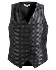 Edwards 7396 Women V-Neck Sleeveless Grid Brocade Vest at GotApparel