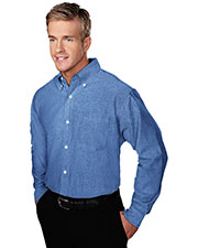 Tri-Mountain 750 Men Techno Stain Resistant Long Sleeve Oxford Shirt at GotApparel