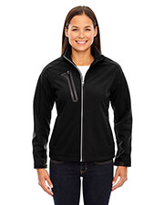 North End 78176 Women Terrain Colorblock Soft Shell with Embossed Print at GotApparel