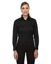 North End 78646 Women Wrinkle-Free Two-Ply 80 Cotton Taped Stripe Jacquard Shirt at GotApparel