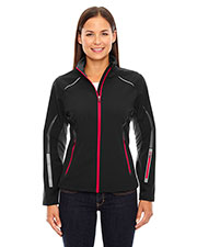 North End 78678 Women Pursuit Three-Layer Light Bonded Hybrid Soft Shell Jacket with Laser Perforation at GotApparel