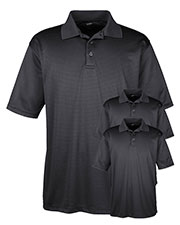 Ultraclub 8220 Men Cool & Dry Jacquard Stripe Polo 3-Pack at GotApparel