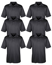 Ultraclub 8220 Men Cool & Dry Jacquard Stripe Polo 6-Pack at GotApparel