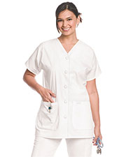 Landau 8265 Women V-Neck Button Front Tunic at GotApparel