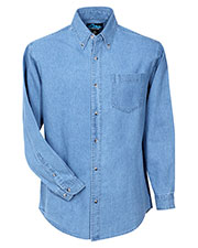 Tri-Mountain 830 Men's Trekker Heavyweight Denim Long Sleeve Shirt at GotApparel