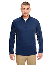 UltraClub 8434 Men Cool & Dry Color Block Dimple Mesh 1/4-Zip Pullover at GotApparel