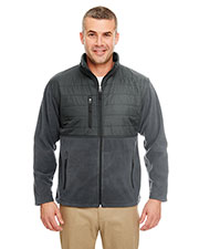 UltraClub 8492 Men Fleece Jacket with Quilted Yoke Overlay at GotApparel