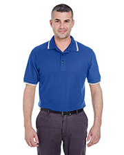 UltraClub 8545 Men short sleeve Whisper Pique Polo with Tipped Collar and Cuffs at GotApparel
