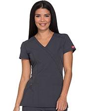 Dickies Medical 85956 Women Mock Wrap Top at GotApparel