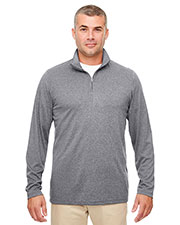 UltraClub 8618  Men's Cool & Dry Heathered Performance Quarter-Zip at GotApparel