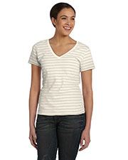 Anvil 8823 Women Lightweight Striped V-Neck TShirt at GotApparel