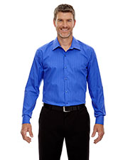 North End 88674 Men Boardwalk Wrinkle-Free Two-Ply 80s Cotton Striped Tape Shirt at GotApparel
