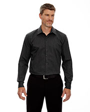 North End 88674 Men Boardwalk Wrinkle Free TwoPly 80's Cotton Striped Tape Shirt at GotApparel