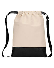 UltraClub 8876 Contrast Bottom Cotton Canvas Drawstring Pack at GotApparel