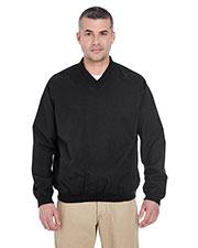 Ultraclub 8926 Men Long-Sleeve Microfiber Crossover V-Neck Wind Shirt at GotApparel