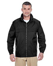 Ultraclub 8929 Men Full-Zip Hooded Pack Away Jacket at GotApparel