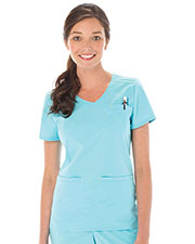 Urbane 9011 Women Sporty Pintucked Crossover Top at GotApparel