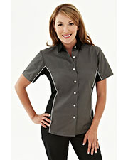 TMR 904 Women Upshifter Short Sleeve Twill Shirt With Piping at GotApparel