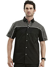 TMR 908 Men Downshifter Short Sleeve Twill Shirt With Piping at GotApparel