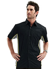 TMR 926 Men GT3 Contrast Pannels Short Sleeve Woven Shirt at GotApparel